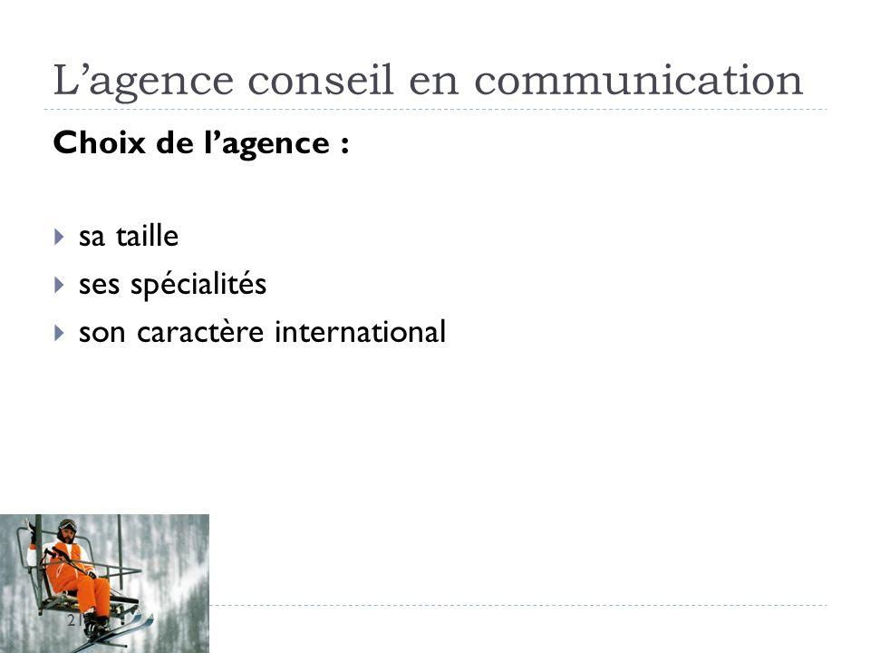 Lagence conseil en communication Choix de lagence : sa taille ses spécialités son caractère international 21
