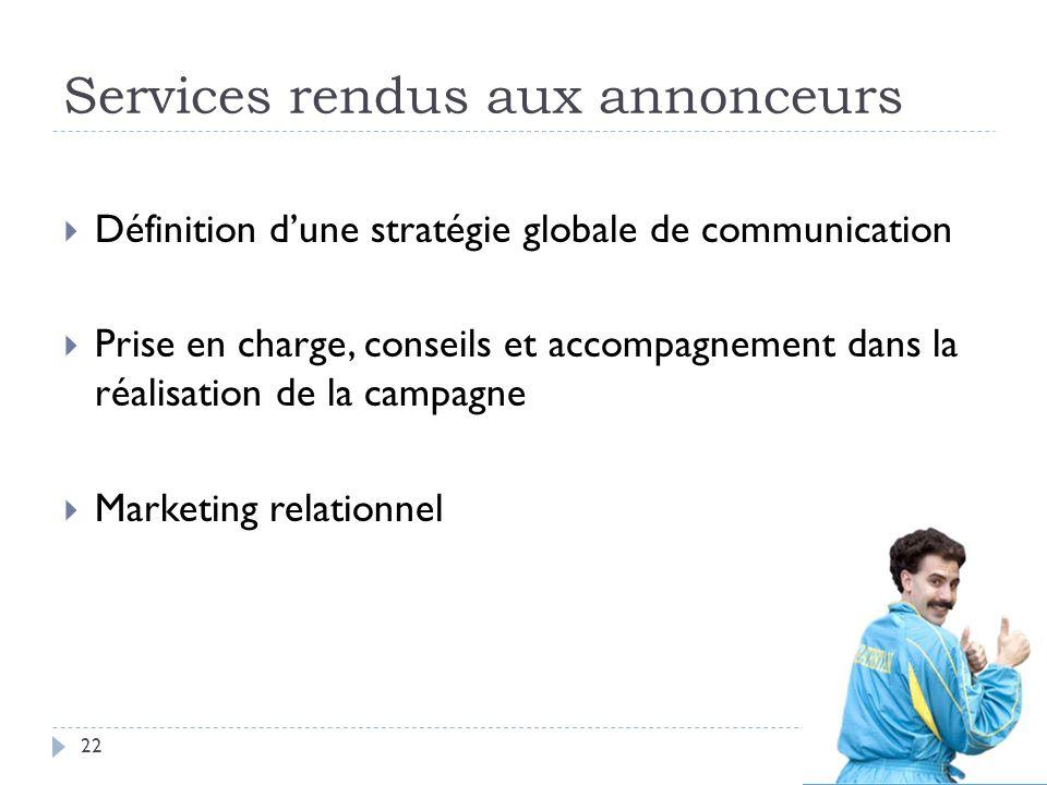 Services rendus aux annonceurs Définition dune stratégie globale de communication Prise en charge, conseils et accompagnement dans la réalisation de l