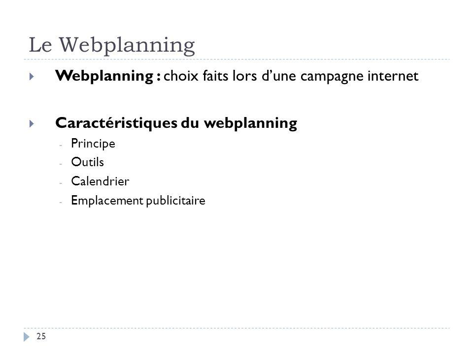 Le Webplanning Webplanning : choix faits lors dune campagne internet Caractéristiques du webplanning - Principe - Outils - Calendrier - Emplacement pu