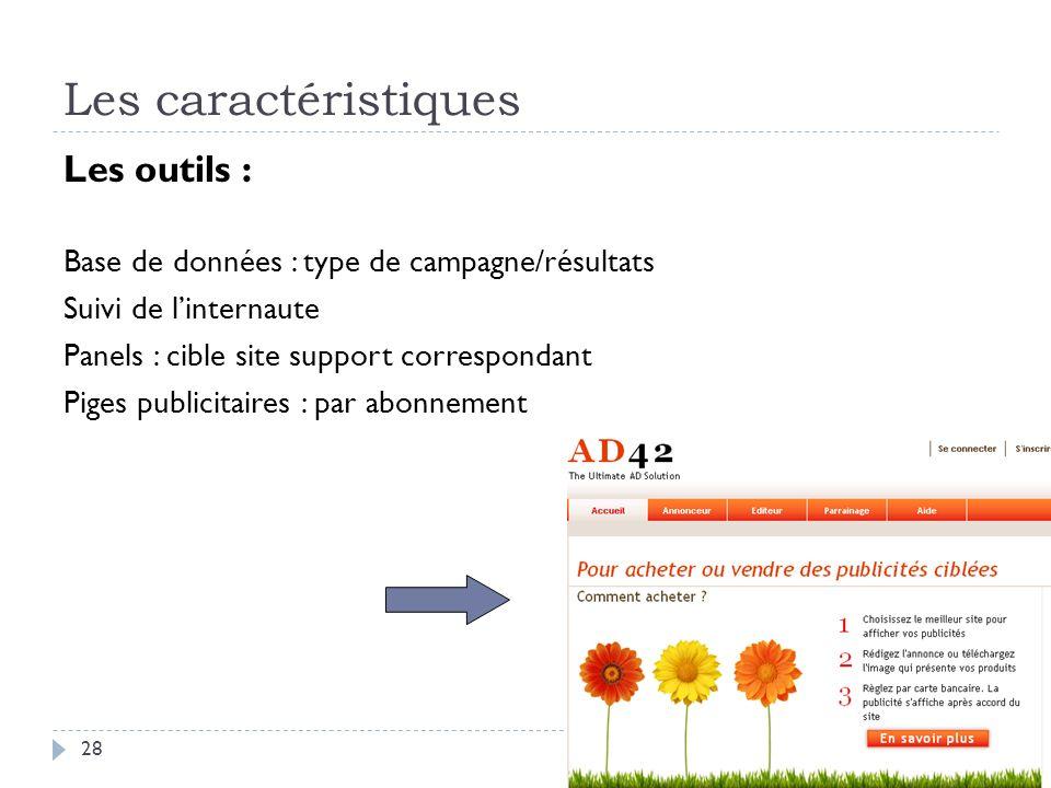 Les caractéristiques Les outils : Base de données : type de campagne/résultats Suivi de linternaute Panels : cible site support correspondant Piges pu