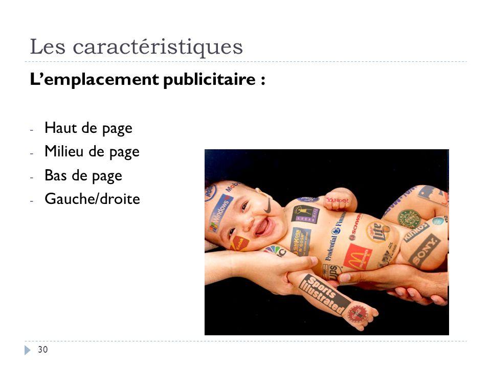 Les caractéristiques Lemplacement publicitaire : - Haut de page - Milieu de page - Bas de page - Gauche/droite 30