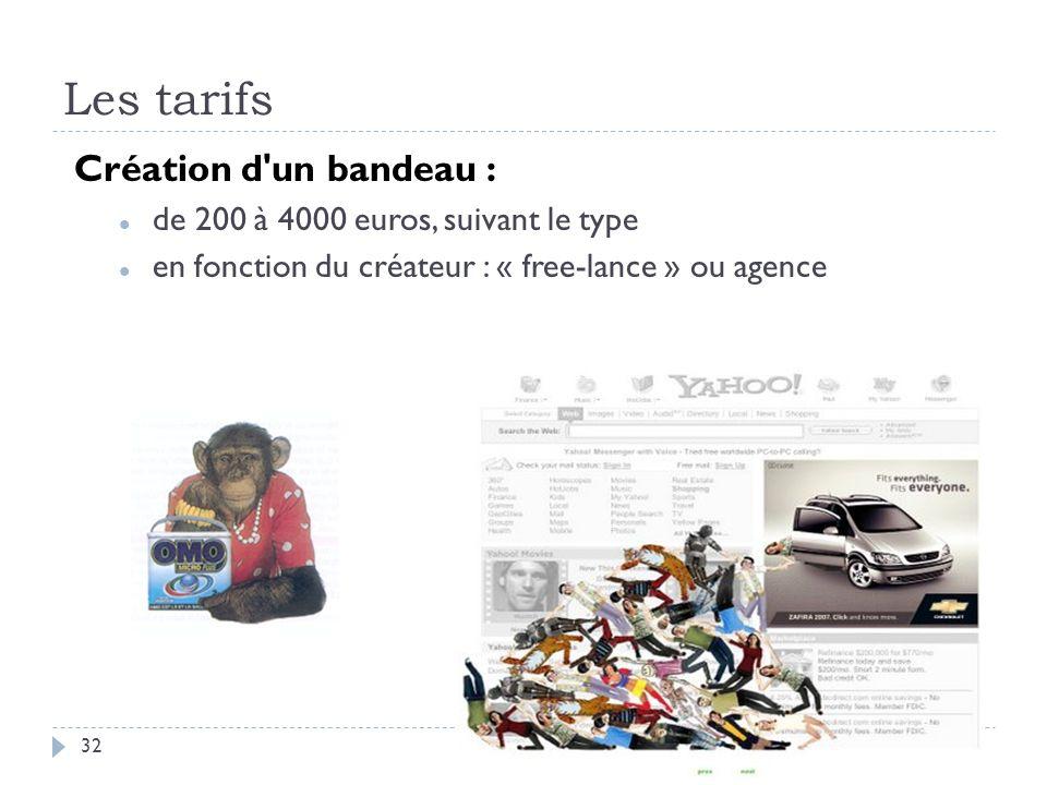 Les tarifs Création d'un bandeau : de 200 à 4000 euros, suivant le type en fonction du créateur : « free-lance » ou agence 32