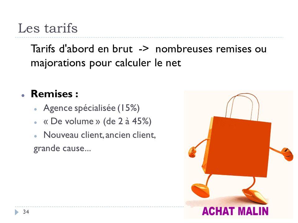 Les tarifs Tarifs d'abord en brut -> nombreuses remises ou majorations pour calculer le net Remises : Agence spécialisée (15%) « De volume » (de 2 à 4