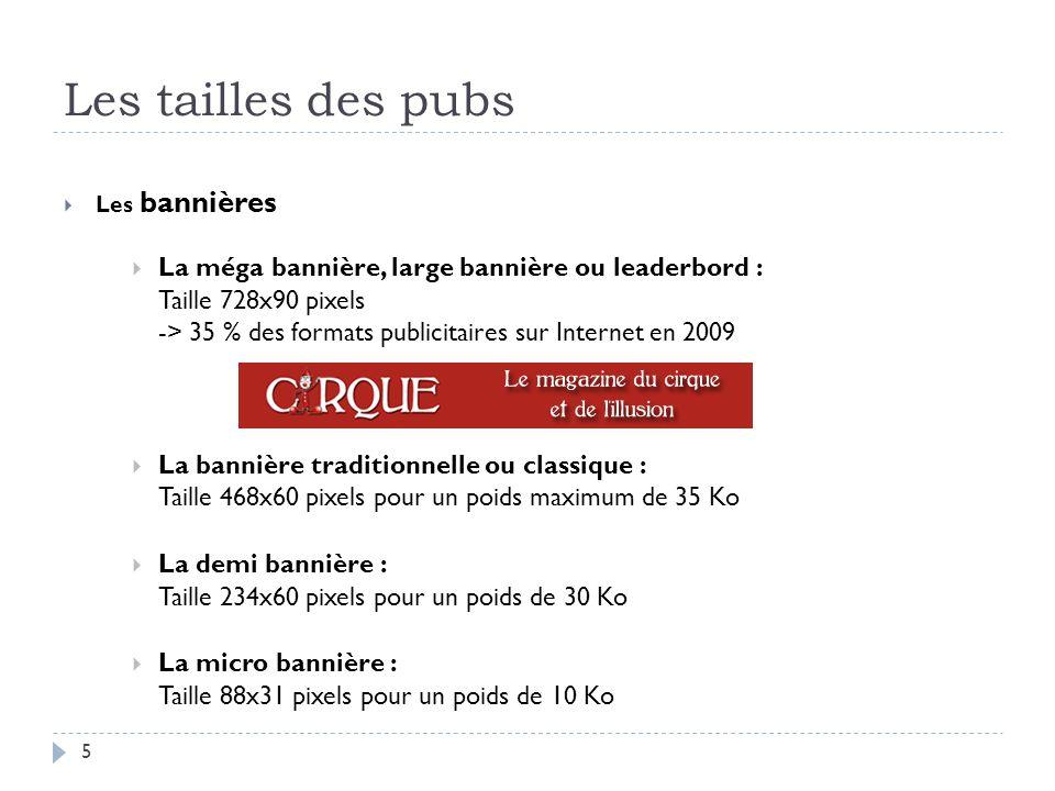 Les tailles des pubs Les bannières La méga bannière, large bannière ou leaderbord : Taille 728x90 pixels -> 35 % des formats publicitaires sur Interne