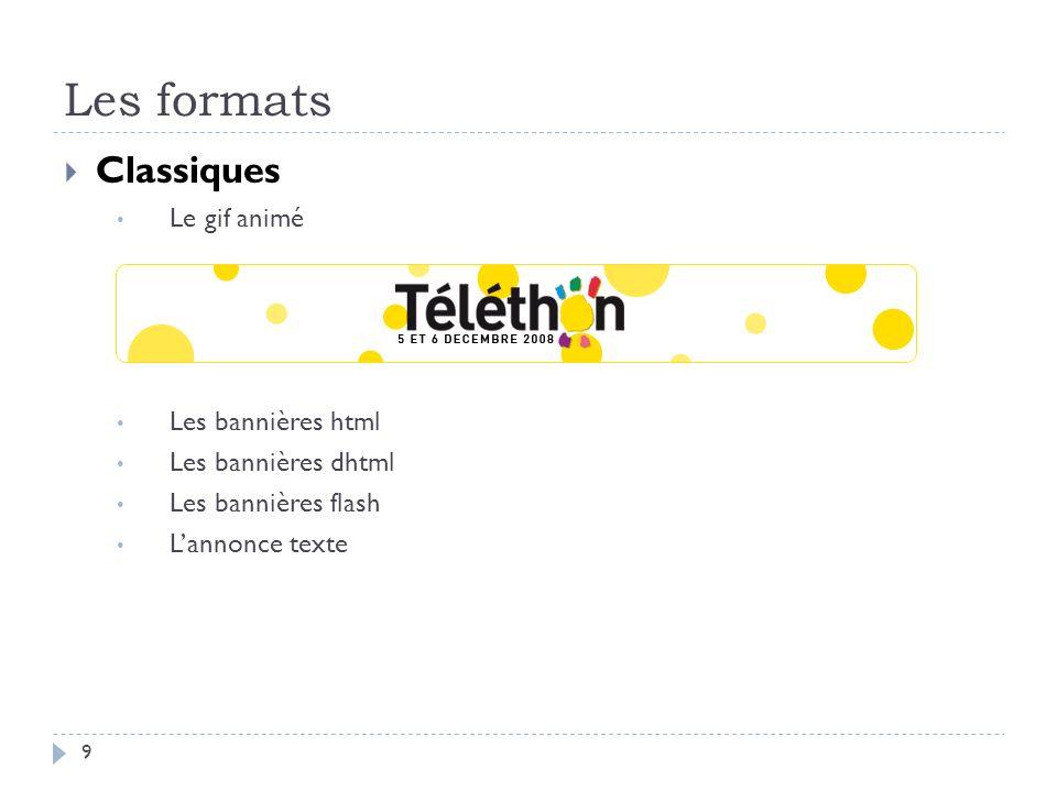 Les formats Classiques Le gif animé Les bannières html Les bannières dhtml Les bannières flash Lannonce texte 9
