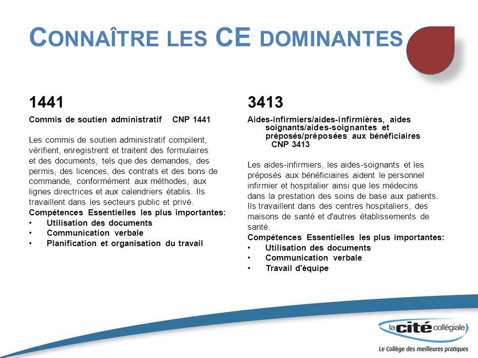 C ONNAÎTRE LES CE DOMINANTES 1441 Commis de soutien administratifCNP 1441 Les commis de soutien administratif compilent, vérifient, enregistrent et tr