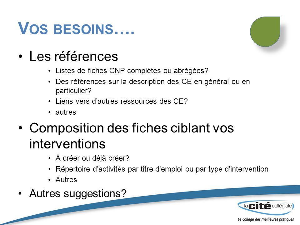 V OS BESOINS …. Les références Listes de fiches CNP complètes ou abrégées? Des références sur la description des CE en général ou en particulier? Lien