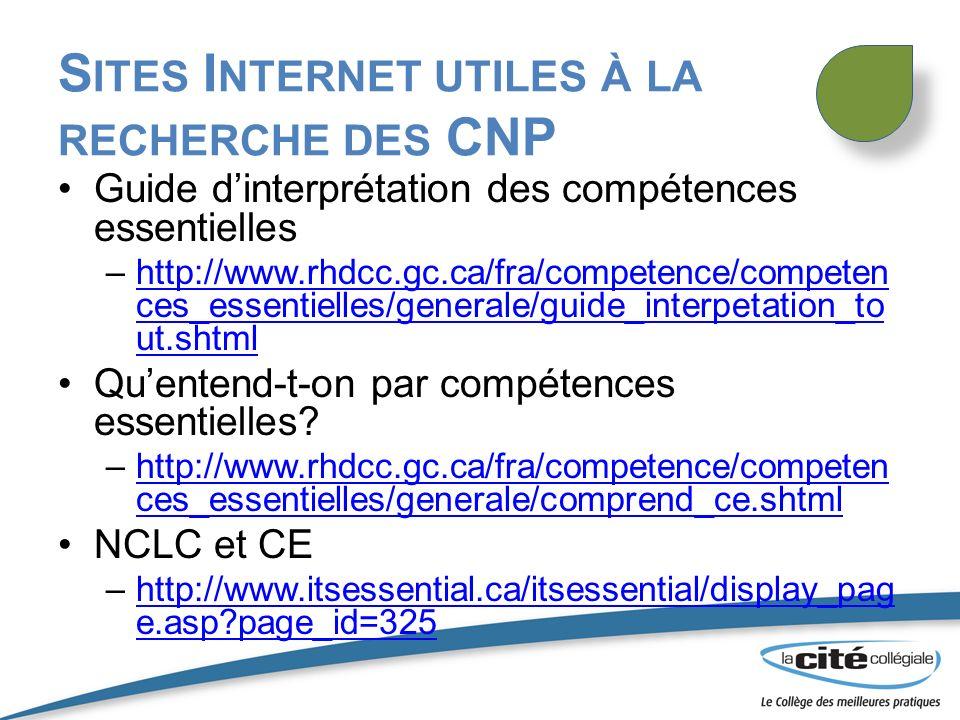 S ITES I NTERNET UTILES À LA RECHERCHE DES CNP Guide dinterprétation des compétences essentielles –http://www.rhdcc.gc.ca/fra/competence/competen ces_