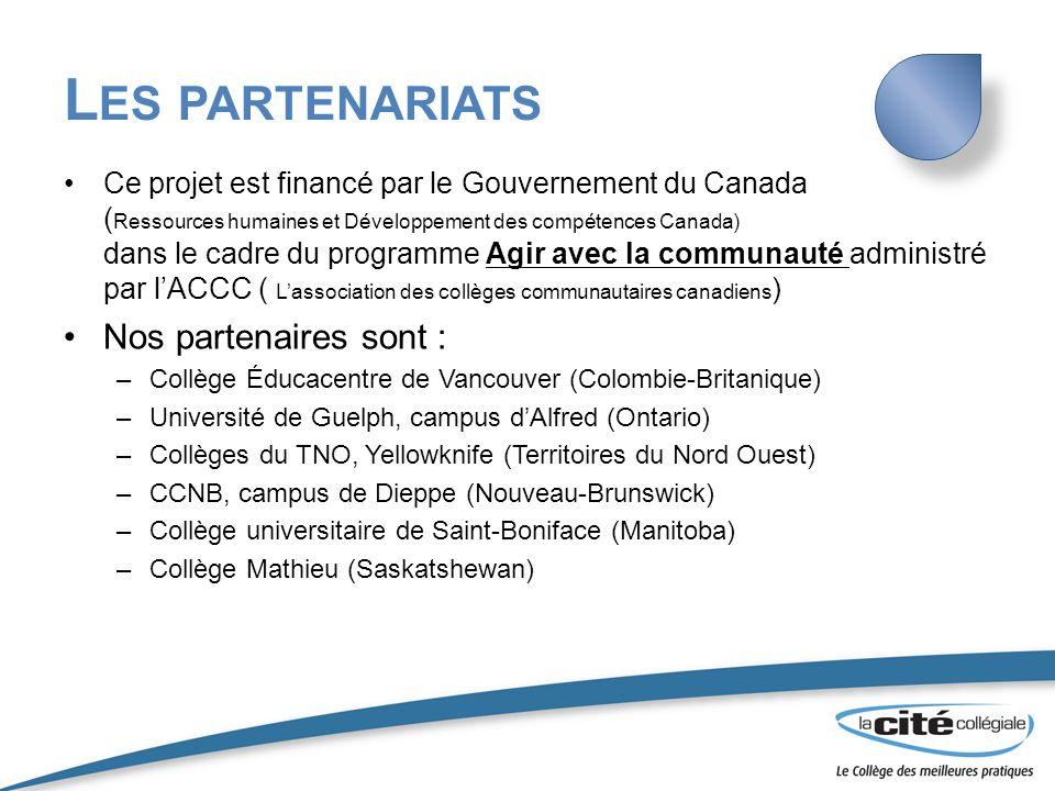 L ES PARTENARIATS Ce projet est financé par le Gouvernement du Canada ( Ressources humaines et Développement des compétences Canada) dans le cadre du