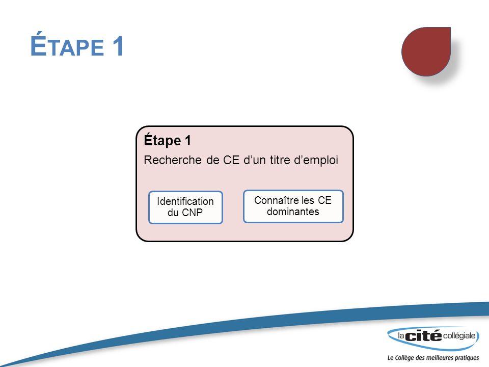 On doit connaître le projet demploi de la personne ciblée ( le domaine ou le titre demploi) On recherche dans le livre de la CNP ou le site internet par domaine ou par titre demploi http://www5.hrsdc.gc.ca/noc/Francais/CNP/2006/In dexProfessions.aspxhttp://www5.hrsdc.gc.ca/noc/Francais/CNP/2006/In dexProfessions.aspx http://www.jobfutures.ca/fr/accueil.shtml http://www.emploisetc.gc.ca/fra/ I DENTIFICATION DU CNP