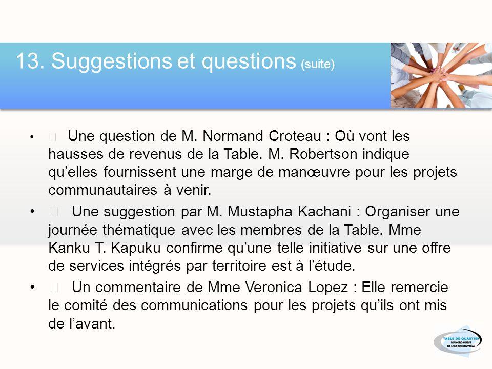 13. Suggestions et questions t t Voir www.tqnoim.org www.tqnoim.org R > Voir page suivant