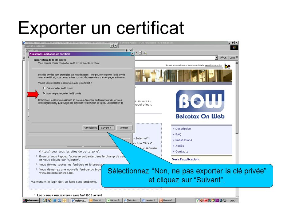 Exporter un certificat Sélectionnez Codé à base X.509-et cliquez sur Suivant.