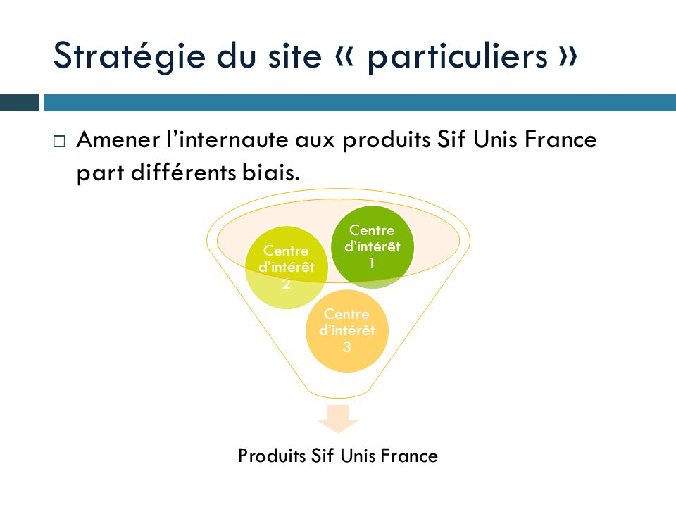 Stratégie du site « particuliers » Amener linternaute aux produits Sif Unis France part différents biais. Produits Sif Unis France Centre dintérêt 3 C