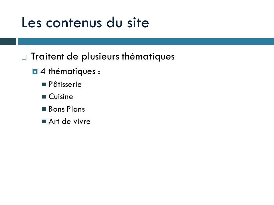 Les contenus du site Traitent de plusieurs thématiques 4 thématiques : Pâtisserie Cuisine Bons Plans Art de vivre