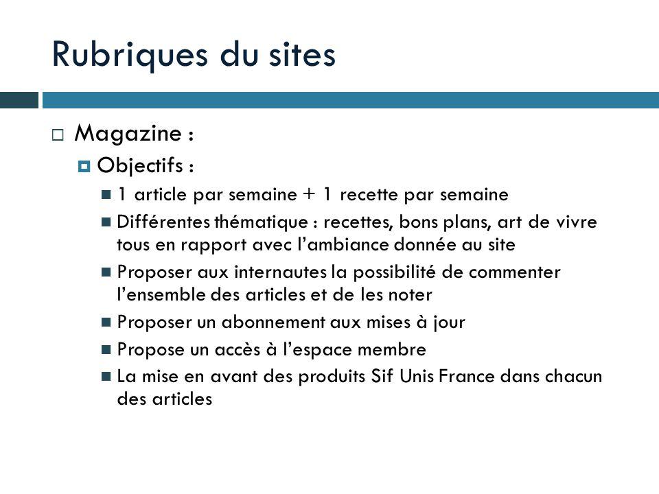 Rubriques du sites Magazine : Objectifs : 1 article par semaine + 1 recette par semaine Différentes thématique : recettes, bons plans, art de vivre to