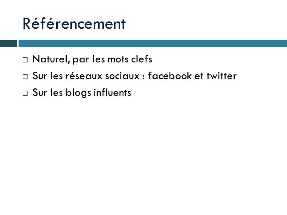 Référencement Naturel, par les mots clefs Sur les réseaux sociaux : facebook et twitter Sur les blogs influents