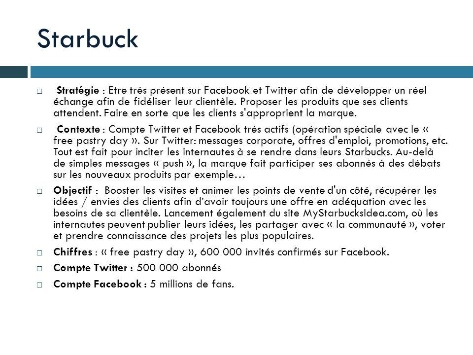 Starbuck Stratégie : Etre très présent sur Facebook et Twitter afin de développer un réel échange afin de fidéliser leur clientèle. Proposer les produ