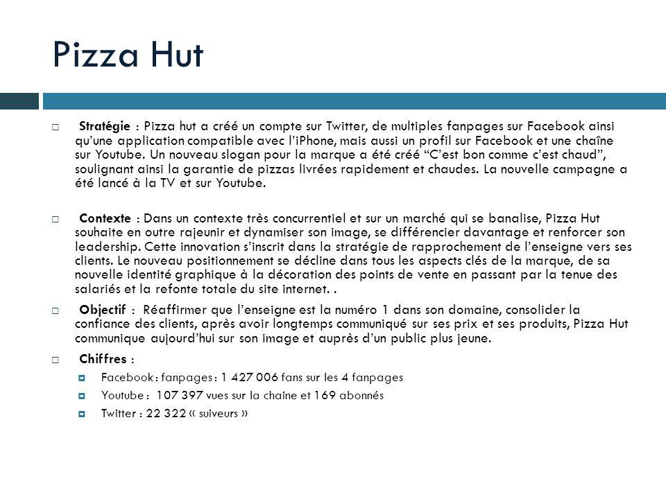 Pizza Hut Stratégie : Pizza hut a créé un compte sur Twitter, de multiples fanpages sur Facebook ainsi quune application compatible avec liPhone, mais