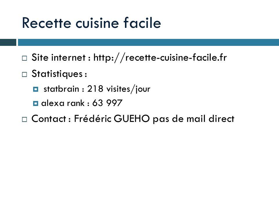 Recette cuisine facile Site internet : http://recette-cuisine-facile.fr Statistiques : statbrain : 218 visites/jour alexa rank : 63 997 Contact : Fréd