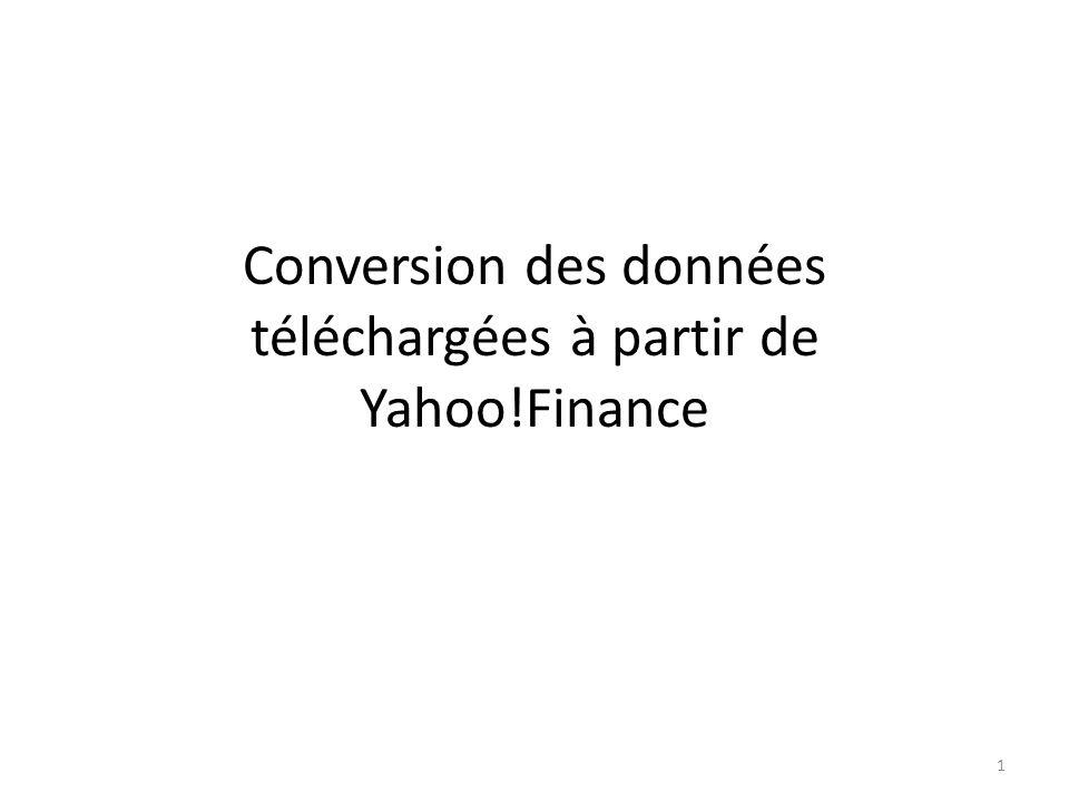 Conversion des données téléchargées à partir de Yahoo!Finance 1