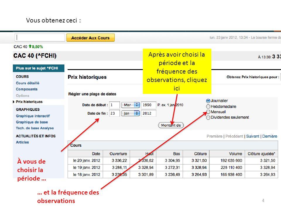 À vous de choisir la période … … et la fréquence des observations 4 Après avoir choisi la période et la fréquence des observations, cliquez ici