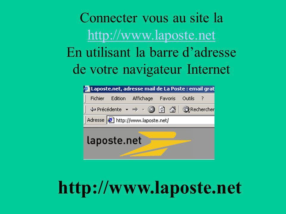 Connecter vous au site la http://www.laposte.net En utilisant la barre dadresse de votre navigateur Internet http://www.laposte.net