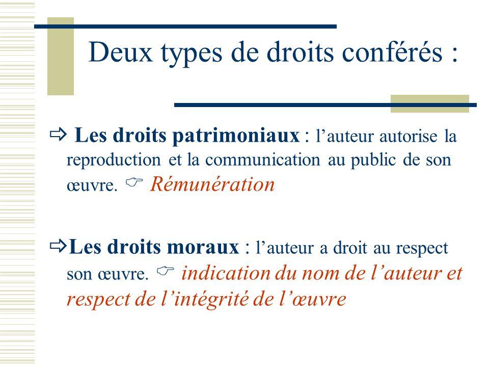 Deux types de droits conférés : Les droits patrimoniaux : lauteur autorise la reproduction et la communication au public de son œuvre.