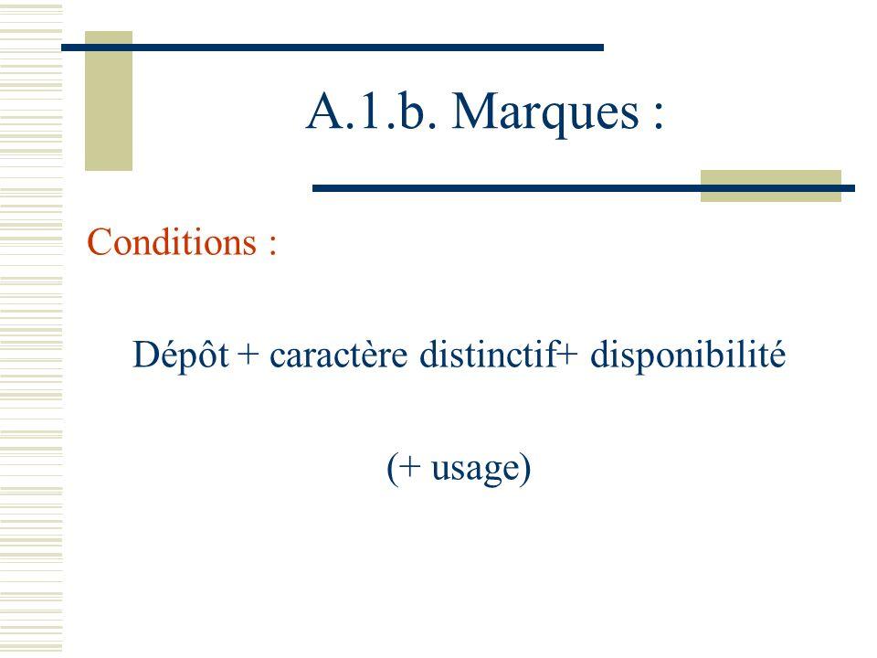 A.1.b. Marques : Conditions : Dépôt + caractère distinctif+ disponibilité (+ usage)