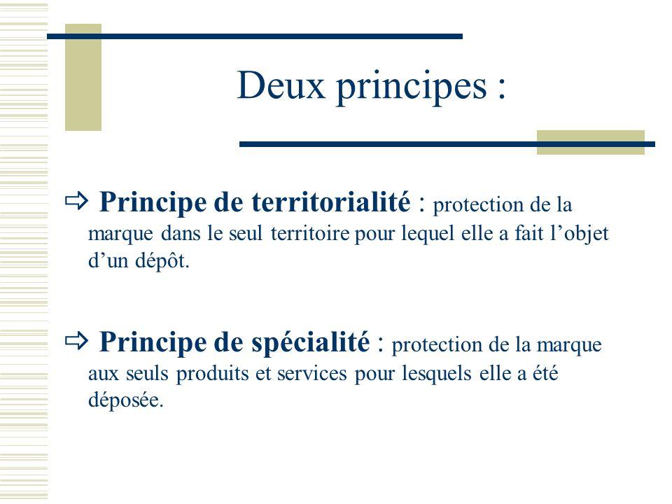 Deux principes : Principe de territorialité : protection de la marque dans le seul territoire pour lequel elle a fait lobjet dun dépôt.