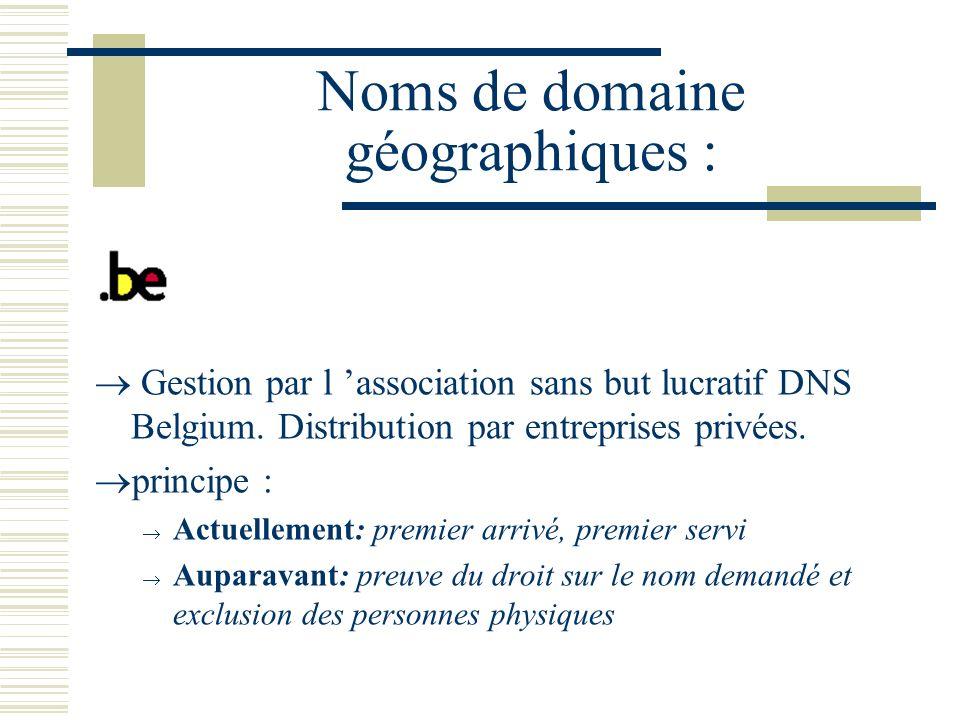 Noms de domaine géographiques :.be Gestion par l association sans but lucratif DNS Belgium.