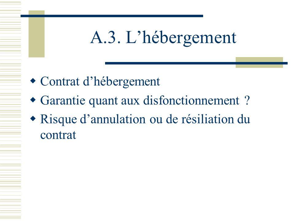 A.3.Lhébergement Contrat dhébergement Garantie quant aux disfonctionnement .