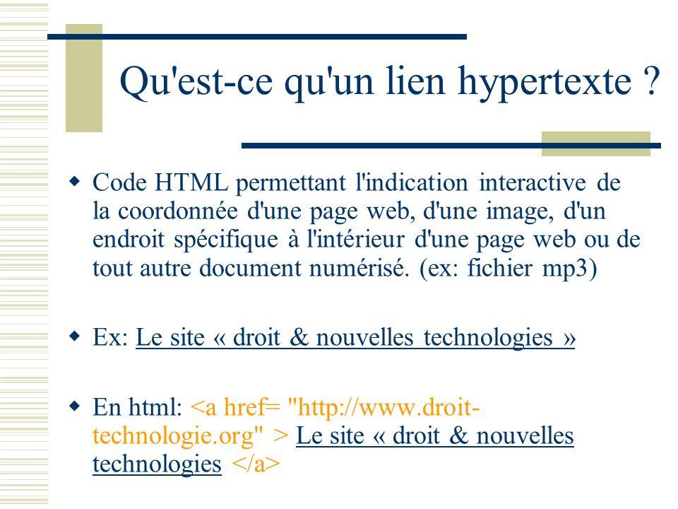 Qu est-ce qu un lien hypertexte .