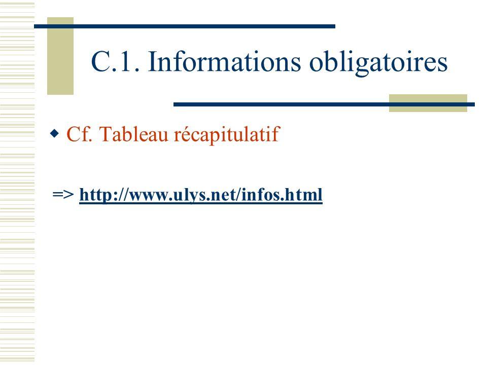C.1.Informations obligatoires Cf.