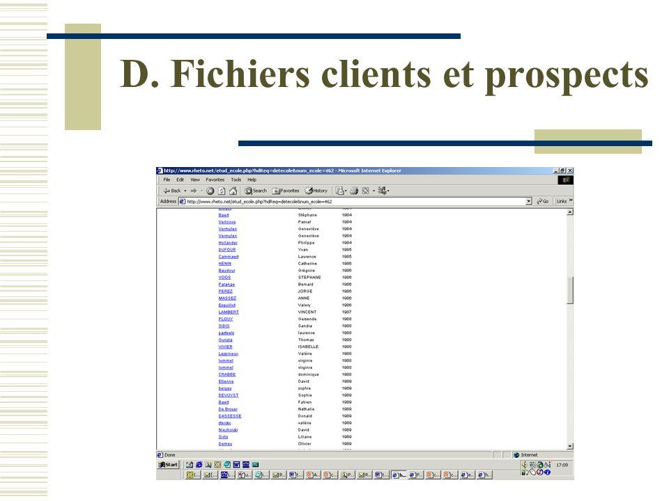 D. Fichiers clients et prospects