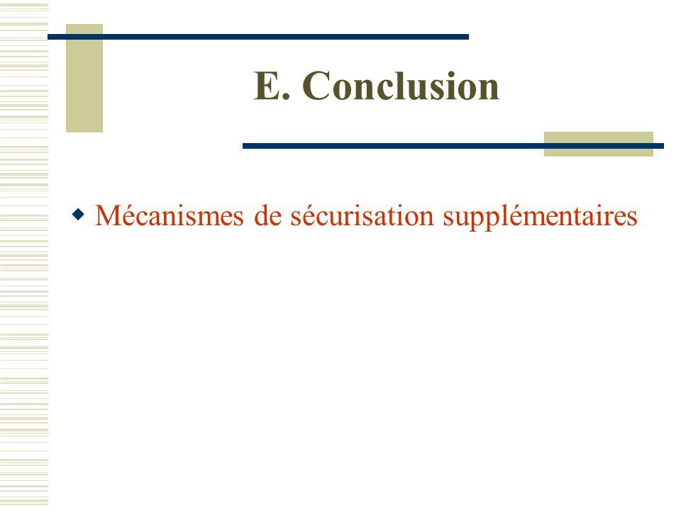 E. Conclusion Mécanismes de sécurisation supplémentaires