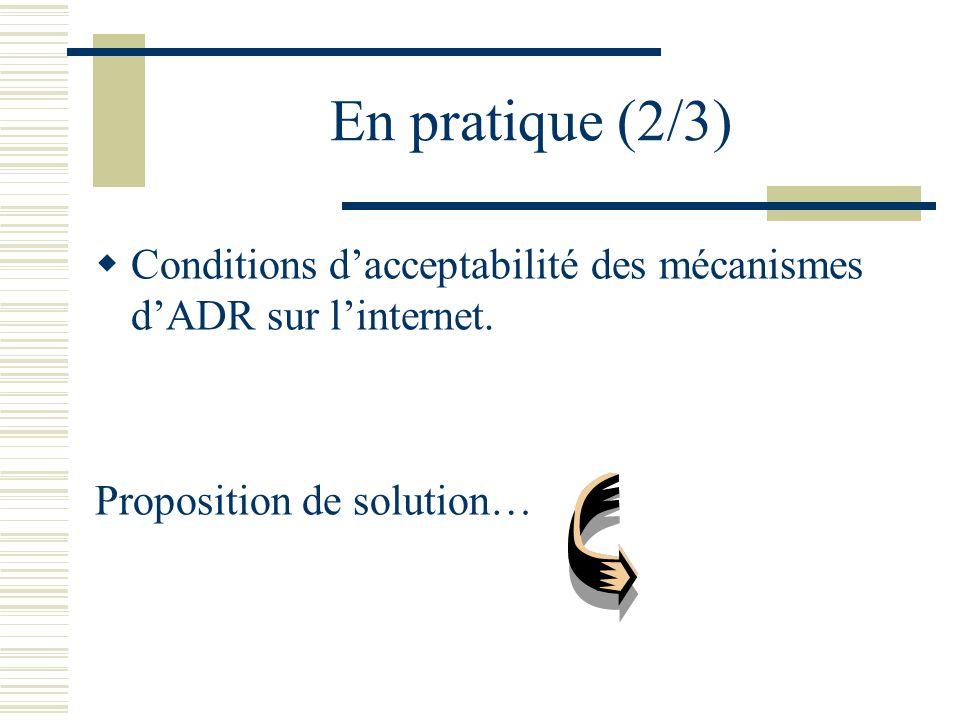 En pratique (2/3) Conditions dacceptabilité des mécanismes dADR sur linternet.