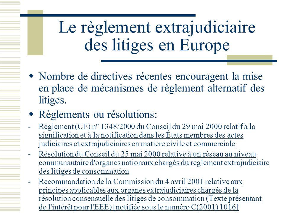 Le règlement extrajudiciaire des litiges en Europe Nombre de directives récentes encouragent la mise en place de mécanismes de règlement alternatif des litiges.