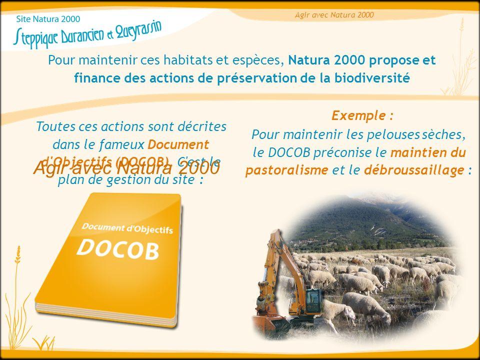 Agir avec Natura 2000 Pour maintenir ces habitats et espèces, Natura 2000 propose et finance des actions de préservation de la biodiversité Toutes ces