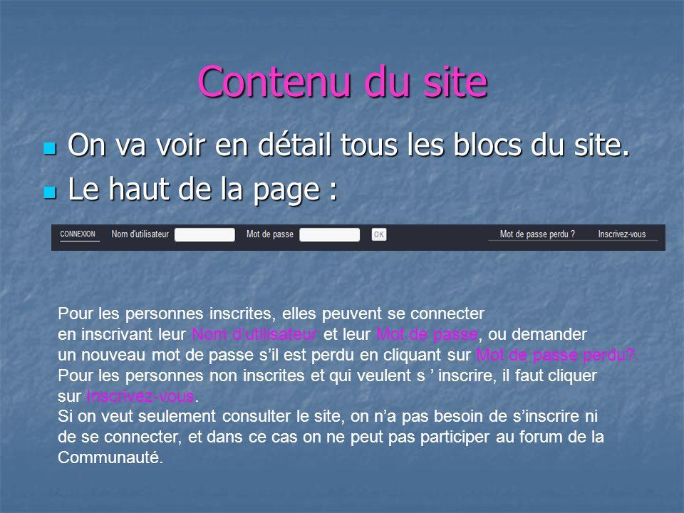 Les autres blocs du site Pour les autres blocs, il faut cliquer et découvrir.
