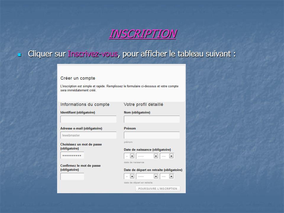 INSCRIPTION Cliquer sur Inscrivez-vous, pour afficher le tableau suivant : Cliquer sur Inscrivez-vous, pour afficher le tableau suivant :