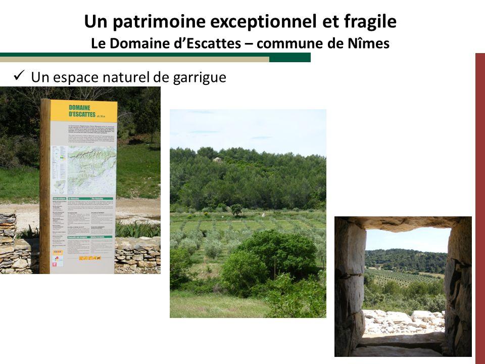 Un espace naturel de garrigue Un patrimoine exceptionnel et fragile Le Domaine dEscattes – commune de Nîmes