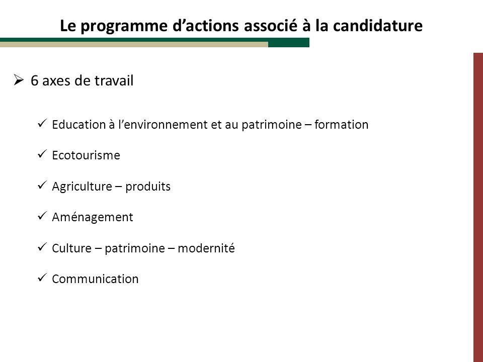 Le programme dactions associé à la candidature 6 axes de travail Education à lenvironnement et au patrimoine – formation Ecotourisme Agriculture – pro