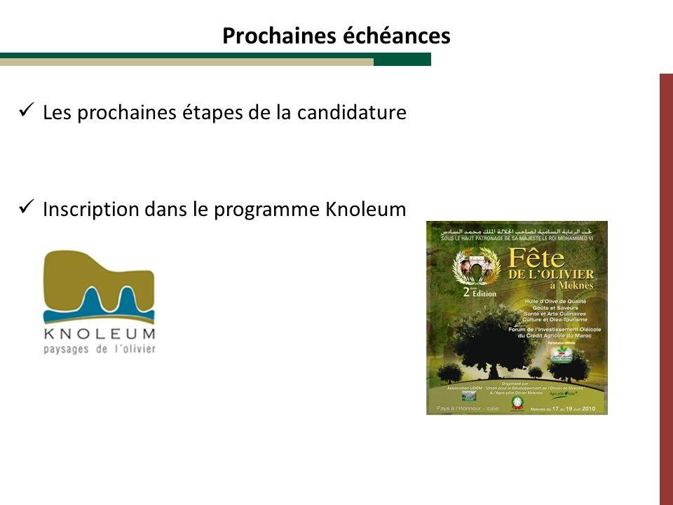 Prochaines échéances Les prochaines étapes de la candidature Inscription dans le programme Knoleum