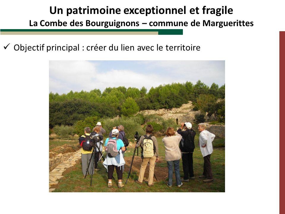 Objectif principal : créer du lien avec le territoire Un patrimoine exceptionnel et fragile La Combe des Bourguignons – commune de Marguerittes