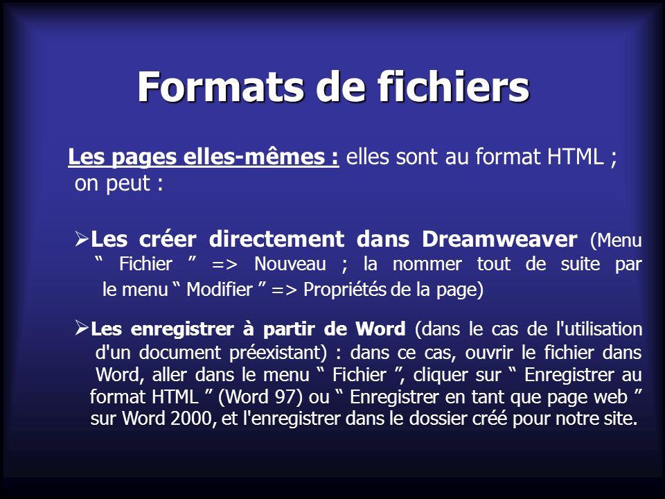 Formats de fichiers Les pages elles-mêmes : elles sont au format HTML ; on peut : Les créer directement dans Dreamweaver (Menu Fichier => Nouveau ; la
