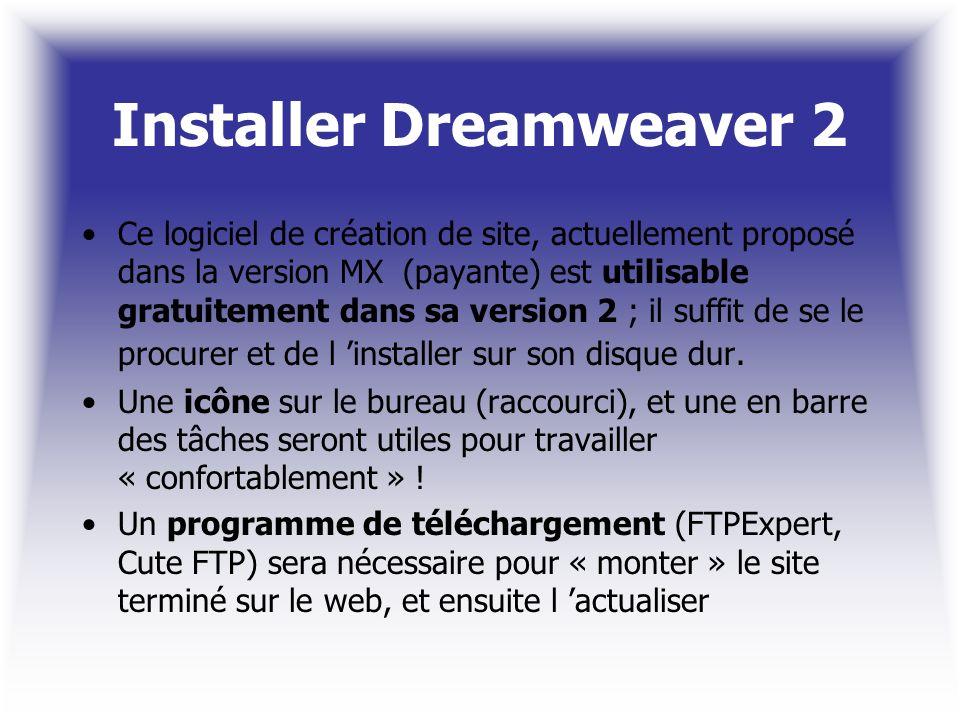Installer Dreamweaver 2 Ce logiciel de création de site, actuellement proposé dans la version MX (payante) est utilisable gratuitement dans sa version