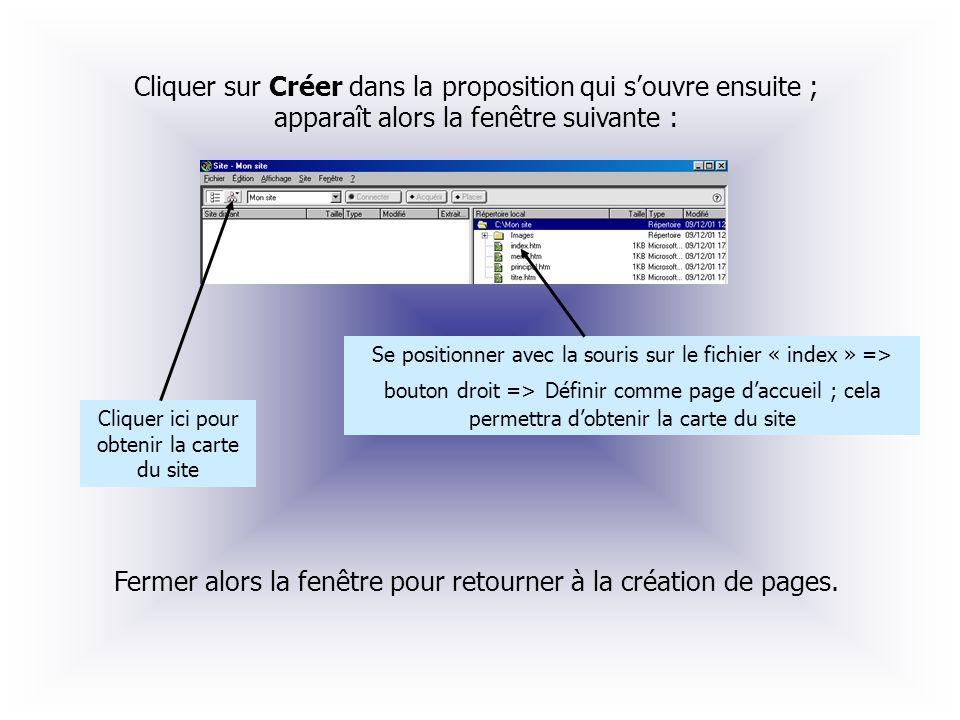Cliquer sur Créer dans la proposition qui souvre ensuite ; apparaît alors la fenêtre suivante : Se positionner avec la souris sur le fichier « index »