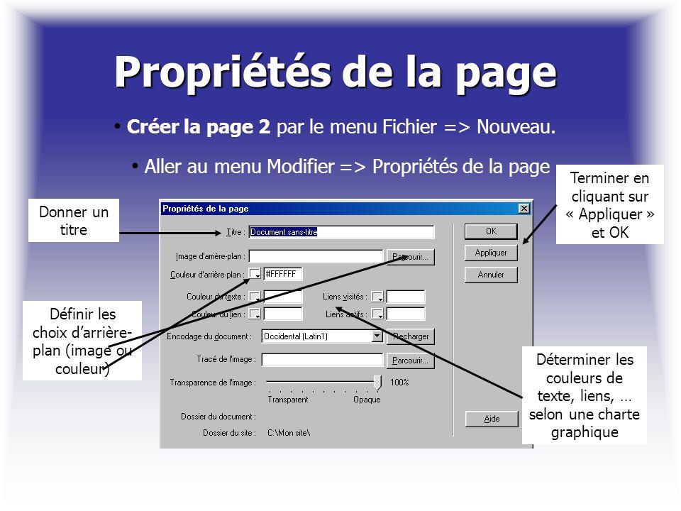 Propriétés de la page Créer la page 2 par le menu Fichier => Nouveau. Aller au menu Modifier => Propriétés de la page Donner un titre Définir les choi