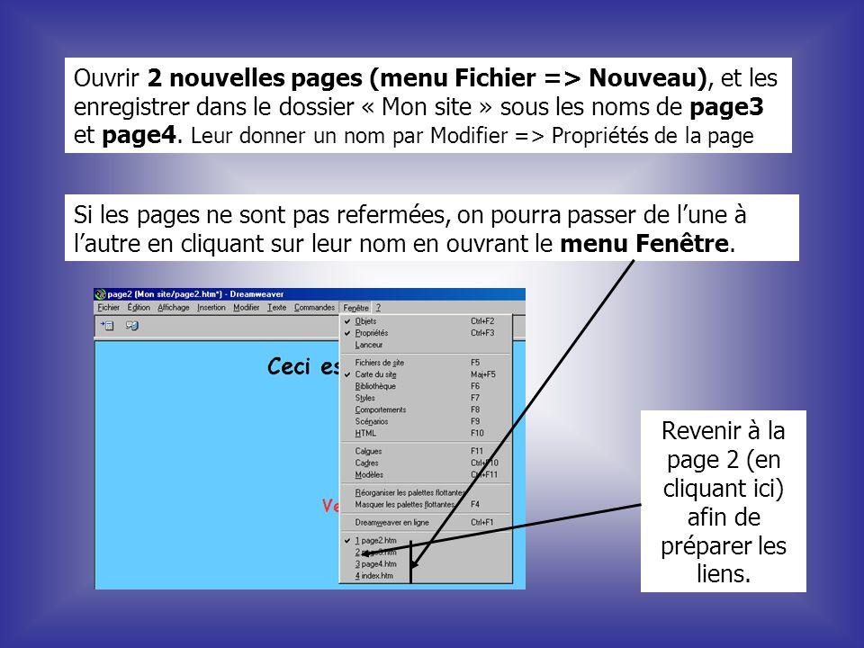 Ouvrir 2 nouvelles pages (menu Fichier => Nouveau), et les enregistrer dans le dossier « Mon site » sous les noms de page3 et page4. Leur donner un no