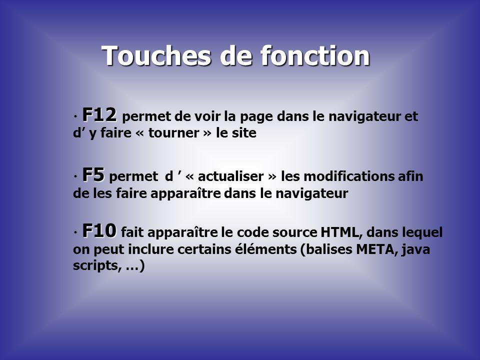 Touches de fonction F12 F12 permet de voir la page dans le navigateur et d y faire « tourner » le site F5 F5 permet d « actualiser » les modifications
